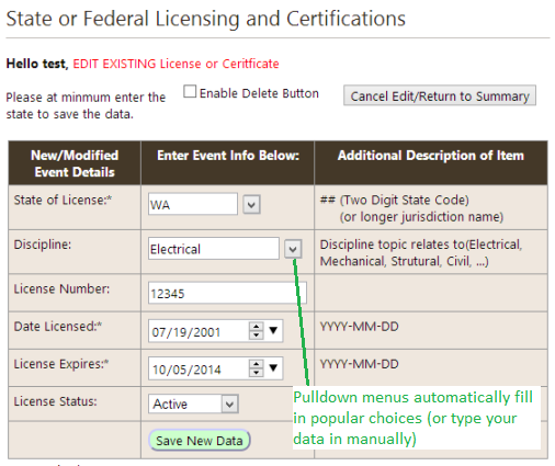 license data entry form