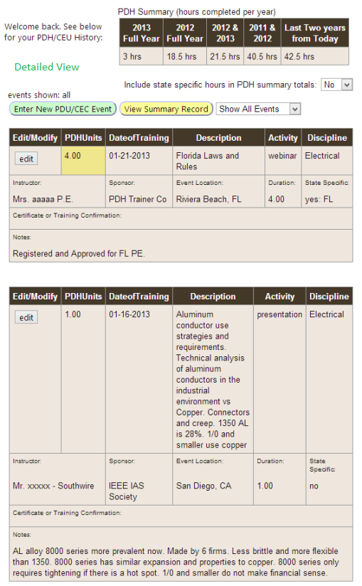 Sample Detailed Summary Page